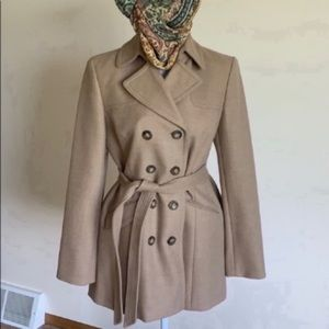 Ann Taylor classic tan wool trench coat size Sm